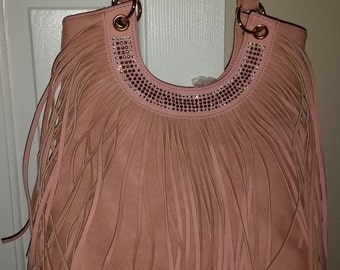 Blush Fringe Shoulder Bag
