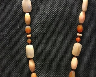 Peach Moonstone with agates, cuppolini and sterling silver