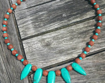 Necklace of the Sun and turquoise stones