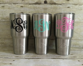 Monogram Tumbler, Stainless Tumbler, Personalized Tumbler, Monogram Cup, Tumbler With Decal, Custom Tumbler with Decal, Stainless Custom Cup