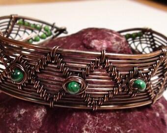 Wire Woven Malakite Cuff Bracelet