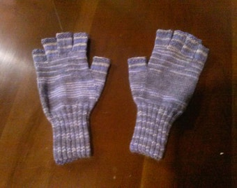 "Fingerless acrylic hand knit ""texting"" gloves"