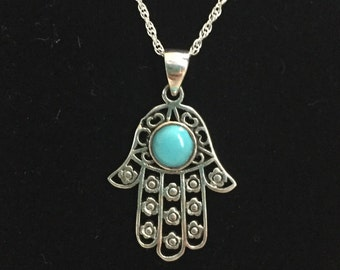 925 Sterling Silver Hamsa Pendant With Turquoise