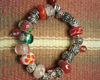 Bright bead and silver bracelet