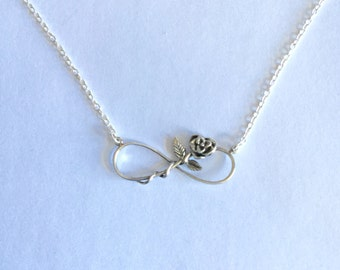 Sterling Silver Rose and Infinity Pendant with Chain/Handmade/Solid Silver/Wedding/Bridesmaid