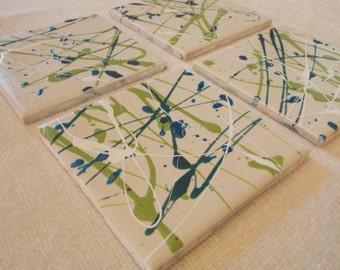 Blue & Green Nail Polish Coasters