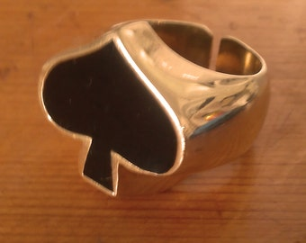Brass & Enamel Ace of Spades Ring by DEFY - adjustable