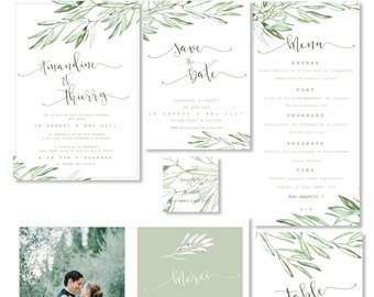 Wedding Stationery Set to print - PDF - Save the date,  wedding invitation, RSVP, table numbers, menu ...- OLIVE