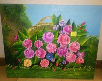"Painting ""a basket of fresh flowers"""