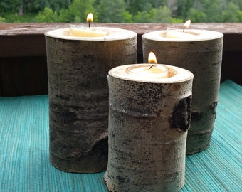Set of 3 Aspen Log Candle Holders