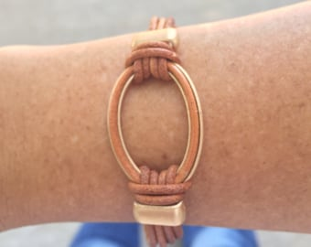 Camel colored natural genuine leather bracelet with gold accents and magnetic clasp