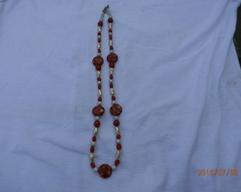 24 inch Coral and Pearl Necklace
