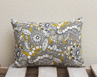 12x16 Handmade Pillow Cover (Mustard Alexandria w/ grey back)