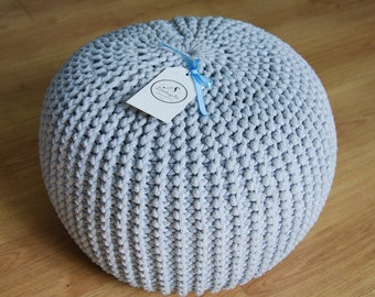 Knitted Pouf - colours, Grey, Seat, Crochet Pouf, ottoman, footstool