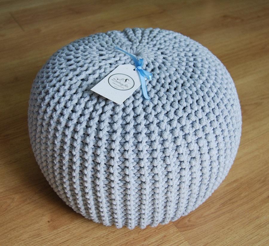 Knitted pouf colours grey seat crochet pouf ottoman - Knitted pouf ottoman pattern ...