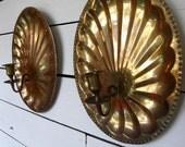 Vintage brass shell candle holder sconces