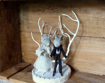 2 mouse at the Wedding - Cake topper - Decoration cake - papier-mache