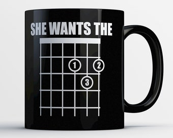 Guitar Gifts - Guitarist Mug - Guitar Lover Coffee Cup - Guitar Gift Ideas - Music Gift - Guitar Art - She Wants the D