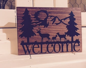 "Welcome 5x7"" wood sign"