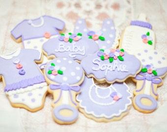 Girl Baby Shower Cookies Purple roses (one dozen)