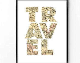 wall art printable, art print, wall decor, office decor, home decor, printable art, graphic art, instant download, travel, map