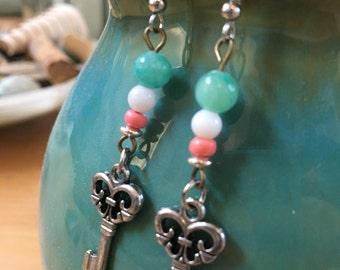 Handmade, Boho, Industrial, Steampunk, Silver, Key, Charm, Turquoise, Salmon, Bead, Dangle, Drop, Earrings