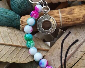 Handmade, Boho, Beach, Watercolor Beads, Silver Clock Charm, Hemp Cord, Key Chain, Key Fob, Lanyard, Purse Charm, Bag Charm