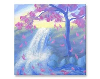 "Canvas Print of Sakura Tree Painting, Fine Art Landscape, 12x12"""