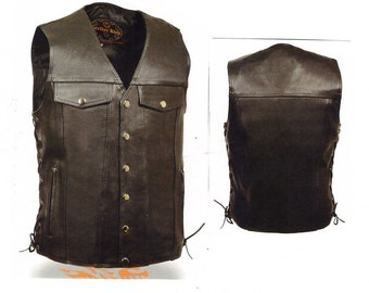 1360 Men's Denim Style Leather Vest with Side Lace