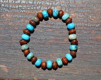 Serpentine Jasper and Wood Stretch Bracelet