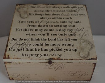 Memory Box Keepsake The Lord Will Always... Footprints In The Sand sg1841
