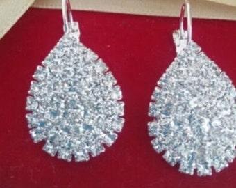 Rhinestone teardrop diamond earrings
