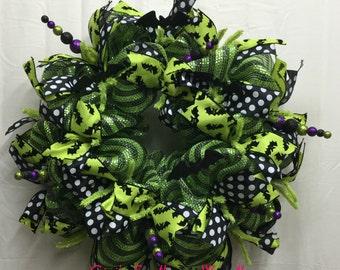 Halloween Bat Wreath, Halloween Deco Mesh Wreath, Black Lime Deco Mesh Wreath, Halloween Wreath