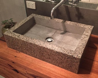 Polished concrete basin