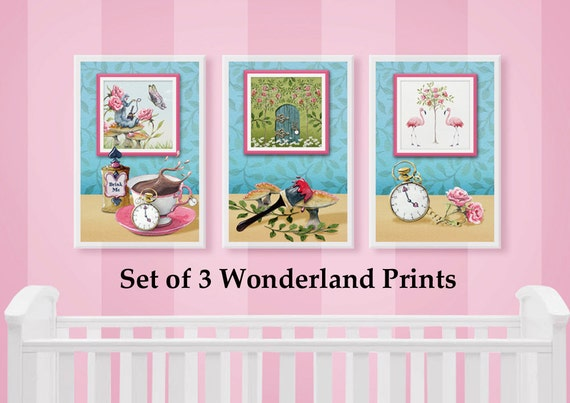 Wonderland Set of 3 Wall Art Prints from original watercolour paintings by Corinne Dany / Alice in Wonderland /  Kids Room / Print Set