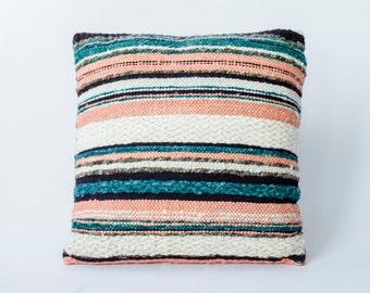 CELIA PILLOW APRICOT/  Entertain / Hand Made/ Wool/Tropical/ Artesian/ Design/ Peach/ Home Decor/ Home Accessories/ Interiors/Stripes