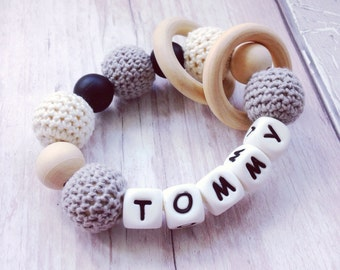 Personalised keepsake silicone teething rattle teether