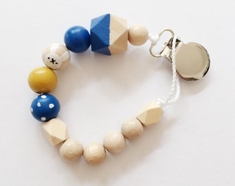 Hand-painted dummy with geometric wooden beads - blue, yellow, rabbit