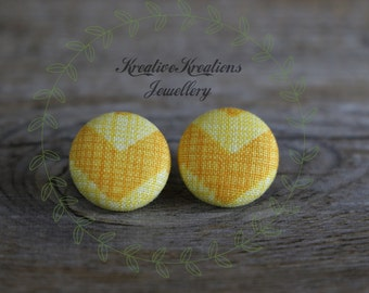 19mm Yellow V Fabric Button Stud Earrings