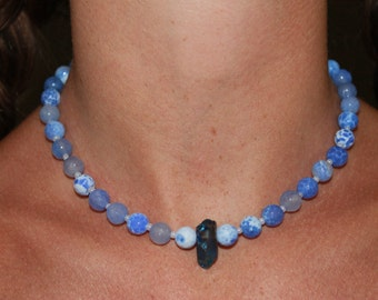 Blue Fire Choker with Blue Crystal