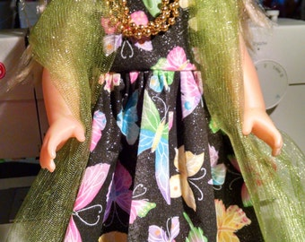18 in doll's black with butterflies evening dress