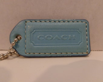 Coach Blue and Natural Vachetta Leather Hangtag