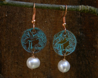 Lucky Penny Pearl Earrings