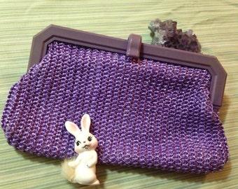 1970's Vintage Purple Straw Clutch