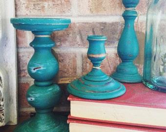 Distressed Aqua/Green Candleholders