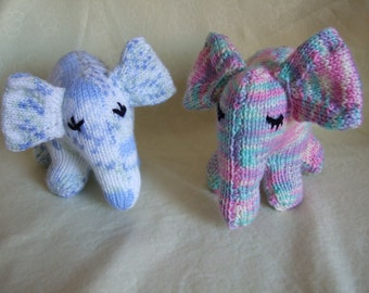 Hand knitted Elephant Soft Toy Doll for Children, Toddler, Baby. Suitable from birth. Baby Shower gift. Newborn gift. Blue or Pink Elephant.