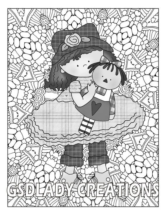 Country girl greyscale coloring friendship whimsical girl for Country girl coloring pages