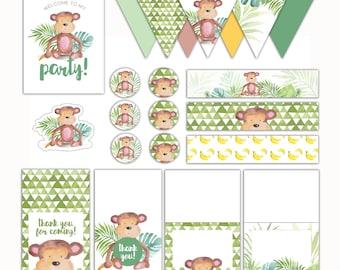 Little Monkey Watercolour Monkey Printable Set