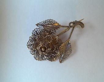 Sterling rose pin