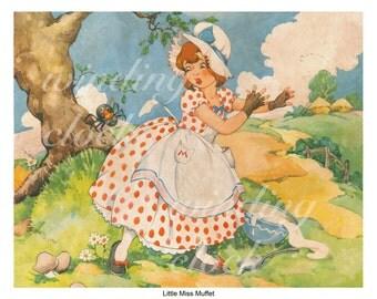 little miss muffet, vintage, illustration, children, rhymes